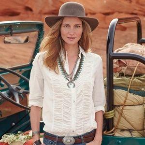 Sundance Lizzy Blouse Tucked, White, Like New